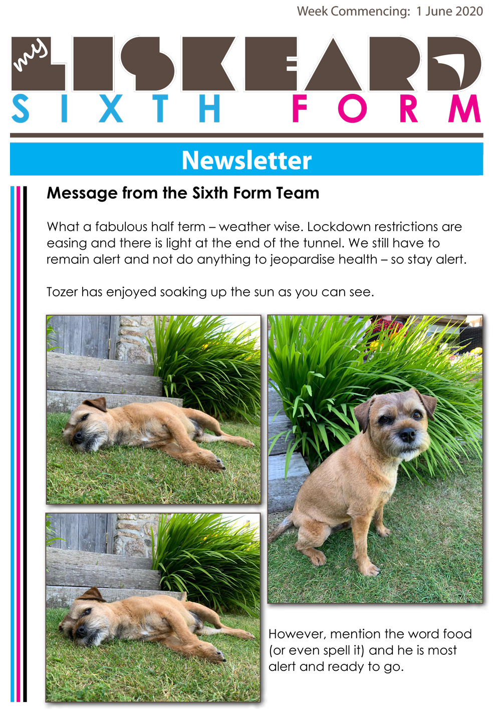 Sixth Form Newsletter 1 6 20 1