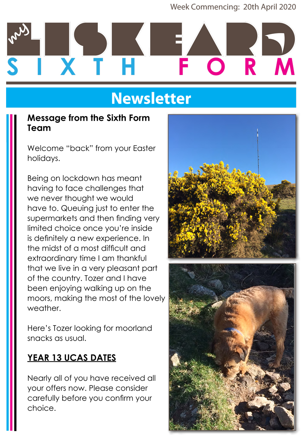 Sixth Form Newsletter 20 4 20 1