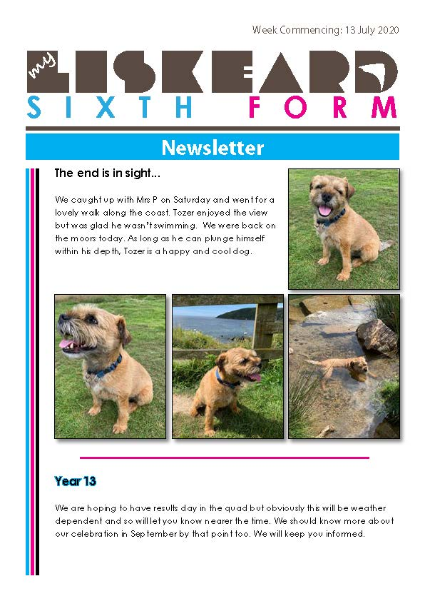Sixth Form Newsletter 13 7 20 Page 1