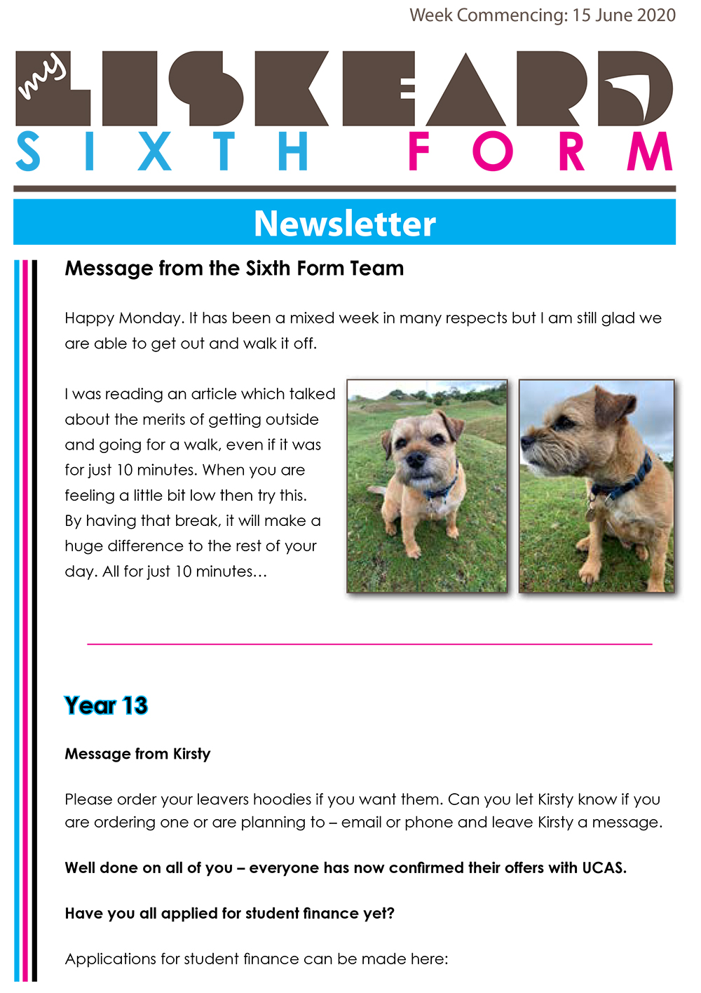 Sixth Form Newsletter 15 6 20 1